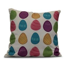 The Holiday Aisle Funky Junky Eggs-ellent! Throw Pillow