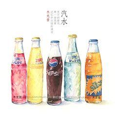 【手绘记录夏天】玻璃瓶汽水儿-木龙蕾_水彩,手绘,插画_涂鸦王国插画