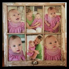 pictures in antique window frames. i had a bunch of these and sold them in a yard sale. kicked myself for that.