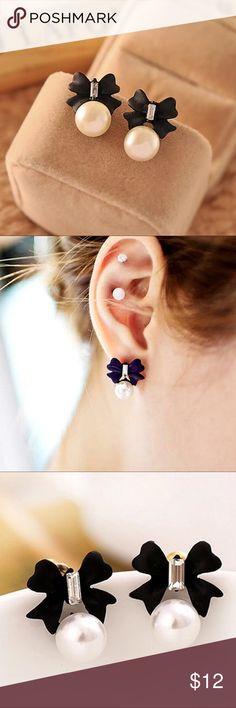 Host Pick  Black Bow Peal Earrings Black Bow with Peal & Crystal Earrings - Super Cute Earrings Sale 2 Pair for $15 Boutique Jewelry Earrings