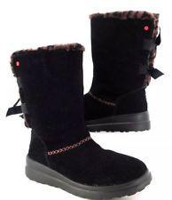 NEW UGG Australia I Heart Knotty Knotty Suede Mid-Calf Boots Black Leopard. SZ:6