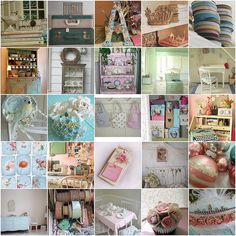 Aqua, pink and white vintage decor inspiration by RellyAB, via Flickr