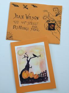 pushing the envelopes Halloween envelope and card
