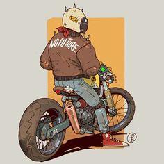 Motorcycle Art, Bike Art, Cool Car Drawings, Character Art, Character Design, Arte Cyberpunk, Cyberpunk Character, Futuristic Art, Car Illustration
