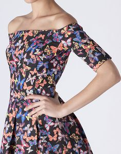 Vestido escote barco mariposas | SHOP ONLINE SUITEBLANCO.COM