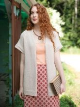 Free pattern Biscuitroot from Berroco: This classic short-sleeved cardigan with a rolled neck edge is sure to become a wardrobe staple.