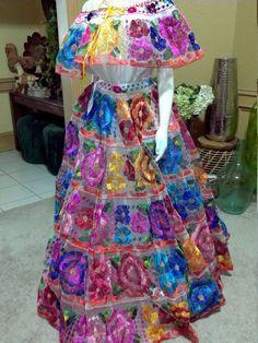 Chiapas Flor Grande Vestido De Falda Completa Mano
