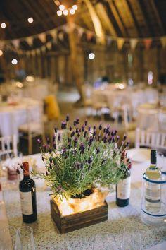 Potted Lavender Crates Centrepiece Table Decor Homespun Fun Country Barn Wedding http://storyandcolour.co.uk/
