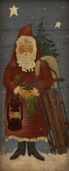 Prim Santa with Sled  8x20 Download & Print by MarysMontage