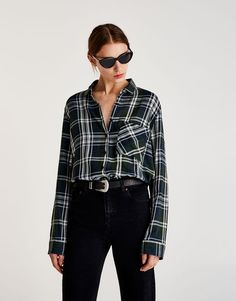 Pull&Bear - woman - clothing - sale favourites - checked shirt with pocket detail - green - 09472373-I2017