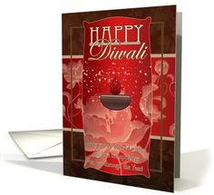 Diwali Greeting Card With Lamp And Flowers Red And Brown card (690089)