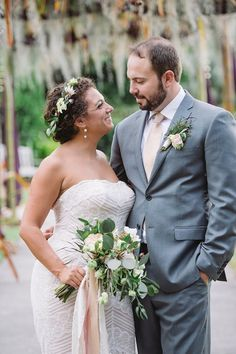 Robin & Tom | Weddings in Tampa Bay | Greenery bouquet made with blush Garden Roses, white Anemones, and Hellebores.With a matching floral crown. #andrealaynefloraldesign  #tampaweddings