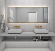 Renovation Modern and elegant bathroom design with golden details.Modern and elegant bathroom design with golden details. Apartment Renovation, Apartment Design, Unique Furniture, Furniture Design, Construction Design, Bathroom Storage, Hospitality, Greece Design, Interior Design