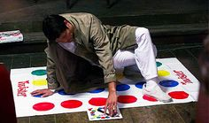 Cas playing twister alone, waiting for Dean to join him. gif