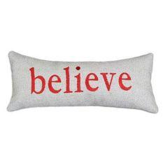 Believe throw pillow.