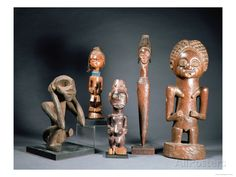 African Tribal Carved Figures L to R: Bakwa Luntu Tribe, Songye Tribe and Luba Tribe of Zaire Giclee Print at AllPosters.com