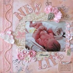 Pastel Pink Baby Page...with pearl trim & flowers.
