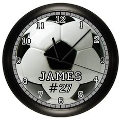 Personalized Soccer Wall Clock Soccer Ball Wall Art by cabgodfrey, $14.99