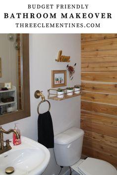 bathroom makeover, powder room, update, home decor, desert theme, plank wall, budget friendly, design, interior design