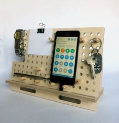 Wood docking station Smart Phone dock tablet holder by OlaDiClock Cnc Projects, Wooden Projects, Wood Crafts, Woodworking Projects, Diy And Crafts, Woodworking Store, Wooden Gifts, Wooden Diy, Charging Station Organizer