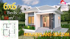 One Bedroom House Plans with Gable Roof - Tiny House Plans House Design 3d, Single Floor House Design, Simple House Design, Villa Design, One Bedroom House Plans, One Bedroom Flat, Bedroom Modern, Simple House Plans, Tiny House Plans