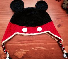 Crochet mickey ear flap hat :)