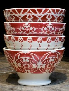 red and white vintage french cafe au lait bowls.
