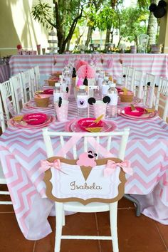 Minnie Mouse Ice Cream Party full of cute ideas via Kara's Party Ideas: Guest of honour chair back