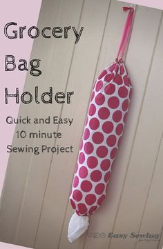 Here is a step by step tutorial for how to make a grocery bag holder. It's a quick and easy sewing project, which will only take about 10-15 minutes.