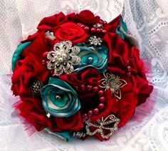 vintage wedding bouquets made of brooches. turquoise and red | Think Happy Thoughts: Red,Turquoise, Silver, and Brooch Fabric Flower ...