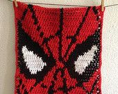 Items similar to Baby Spiderman Blanket, Crochet Spiderman Security Blanket, Baby Afghan/Lapghan on Etsy