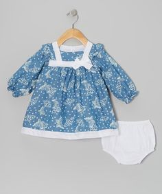 Take a look at this Blue & Ivory Butterfly Dress & Diaper Cover - Infant by Alouette on #zulily today!