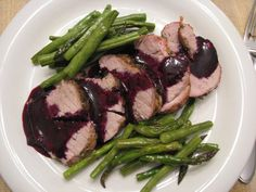 Pork Tenderloin with Blueberry Sauce -  Oh my, oh my, this looks GOOD  from Paleo Plan  Makes 4 servings.  Approximate cooking time: 45 minutes