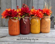 You Pick Set of 2 or 3 or 4 Fall Mason Jars. by Kateslittleshop