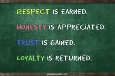 #quotes - Respect is earned...more on purehappylife.com