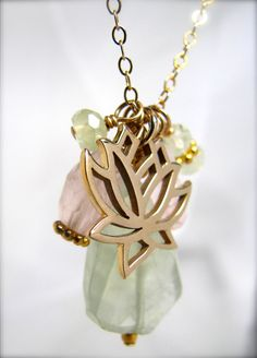Yoga Jewelry, Lotus Charm Necklace, Chakra Jewelry via Etsy