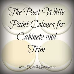 Learn what the best white paint colours are for cabinets / trim / mouldings. Benjamin Moore's white, off-white and cream options are discussed (cloud white) Cabinet Paint Colors, Kitchen Cabinet Colors, Painting Kitchen Cabinets, Kitchen Paint, Kitchen Redo, Kitchen Colors, Kitchen Ideas, Kitchen White, How To Paint Kitchen Cabinets White