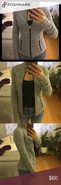 """Lululemon Fitted Running Jacket - Grey Herringbone Genuine Lululemon running jacket in grey Herringbone. Very soft and light, but sturdy enough to keep you warm on late night / early morning jogs. Barely ever worn and in """"like new"""" condition. lululemon athletica Jackets & Coats"""