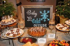 Gender reveal party/ little Ms or little Mr / winter gender reveal party / hot cocoa bar