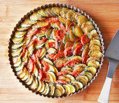 Zucchini, Potato and Tomato Casserole with Caramelized Onions and vegan Parmesan