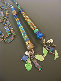 Lariat by ©Myra Schwartz of antique cloisonné cigarette holders, chain of antique enameled Chinese links, jade, Lapis, sterling silver. Private Colelction.