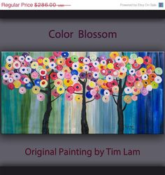 """Sale Huge Art abstract painting original Modern Impasto Texture Acrylic Painting on gallery wrap canvas by Tim Lam 48""""  x 24"""""""