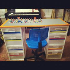 Yes, this is ugly, but I have an old desk I was going to get rid of I could do this with that is big enough they can make buildings on!