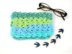 Sea Green Handmade Crocheted Bag, 100% Cotton, Ombre Stripe  ~ Crochet Clutch, Makeup Bag, Green Cotton Bag, Handmade Clutch, Nautical Bag - pinned by pin4etsy.com