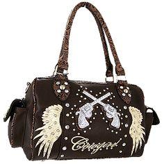 Western Purses And Handbags | Clearance* Pistol Gun Bling Western Style Boston Bag-Brown