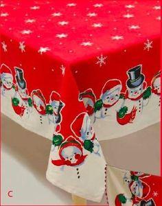 Amazon.com - Snowman Snowmen Snow buddies Snowbuddies Vintage Christmas Tablecloth $57.95