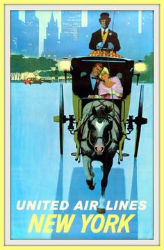 New York United Airlines 1960s  Print by BloominLuvly on Etsy, $10.00