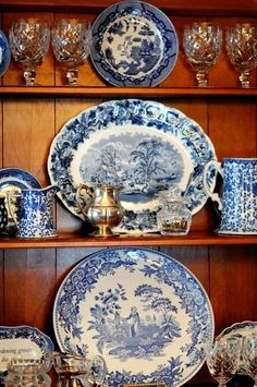 Blue & white transferware, crystal, silver