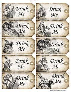 Free vintage alice in wonderland printable tags from grafficalmuse alice in wonderland printable gift hang tag whimsical eat me cheshire cat white rabbit labels stickers pronofoot35fo Images