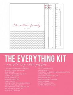organization  Chevron Printable Planner Kit for Household Homekeeping Binder
